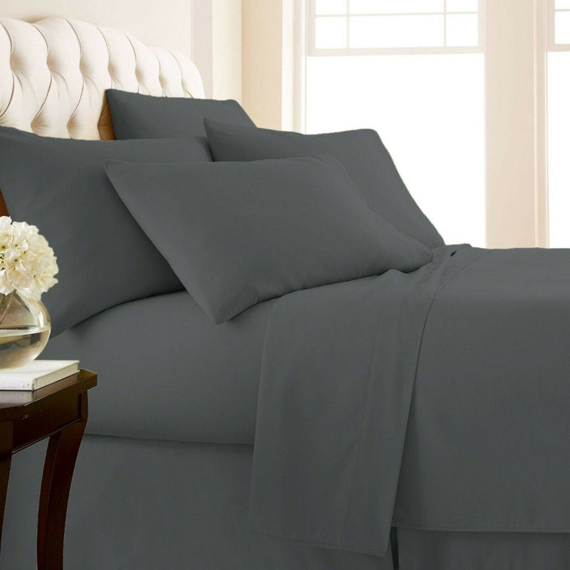 4-Piece Set: 1000 Thread Count Egyptian Cotton Sheets Linen & Bedding Twin Gray - DailySale
