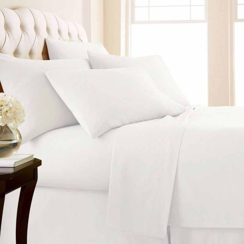 4-Piece Set: 1000 Thread Count Egyptian Cotton Sheets Linen & Bedding Twin White - DailySale