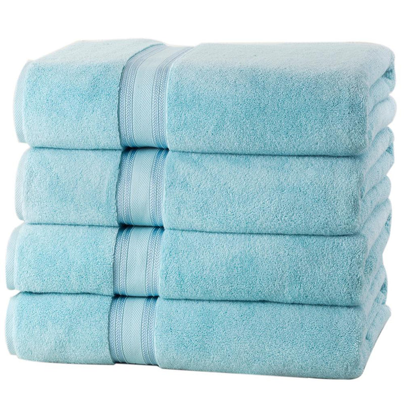 4-Piece Set: 550 GSM Zero Twist Cotton Bath Towels Beauty & Personal Care Blue - DailySale
