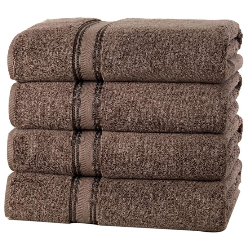 4-Piece Set: 550 GSM Zero Twist Cotton Bath Towels Beauty & Personal Care Chocolate - DailySale