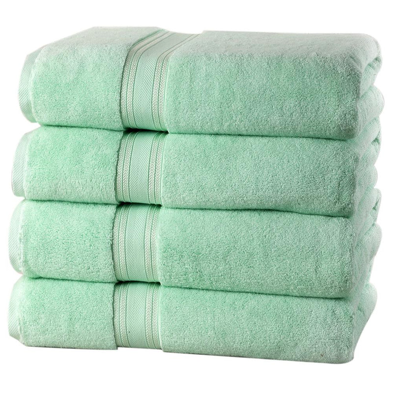 4-Piece Set: 550 GSM Zero Twist Cotton Bath Towels Beauty & Personal Care Jade - DailySale