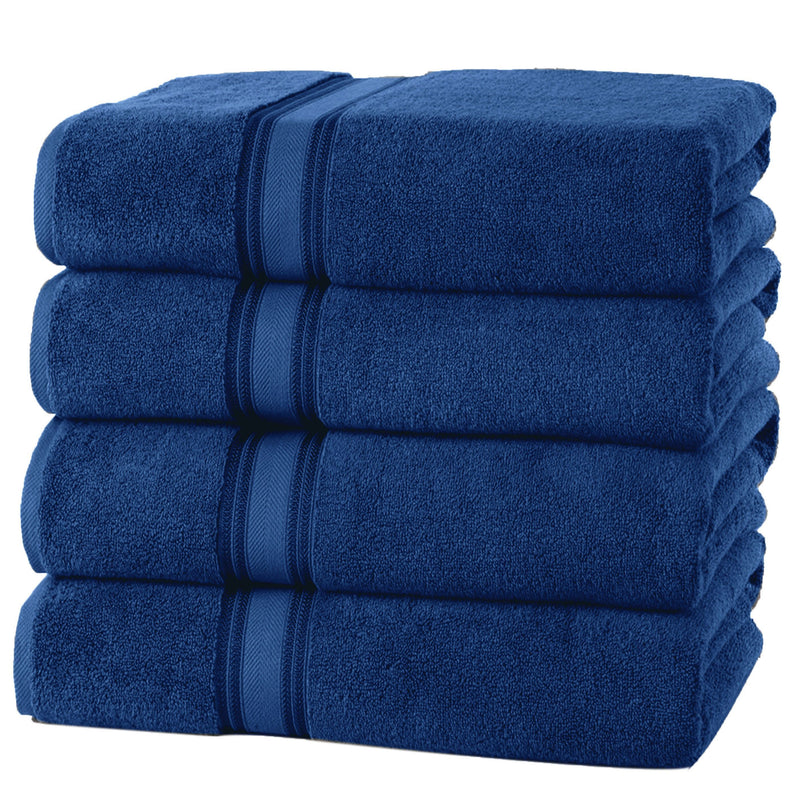 4-Piece Set: 550 GSM Zero Twist Cotton Bath Towels Beauty & Personal Care Navy - DailySale