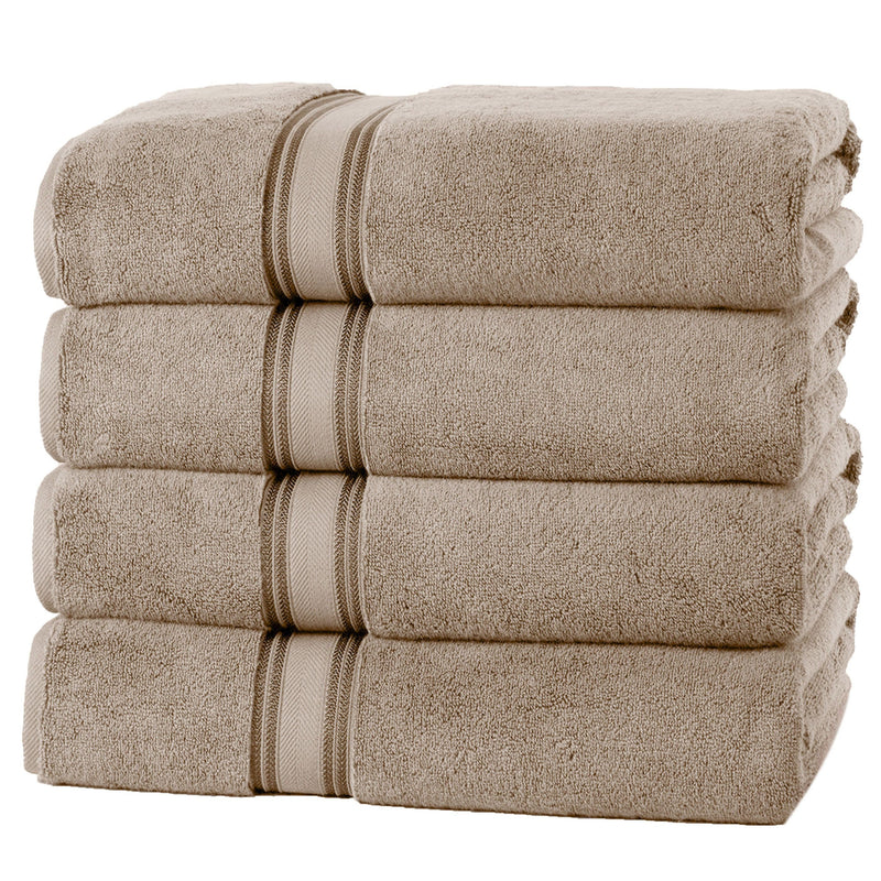 4-Piece Set: 550 GSM Zero Twist Cotton Bath Towels Beauty & Personal Care Taupe - DailySale