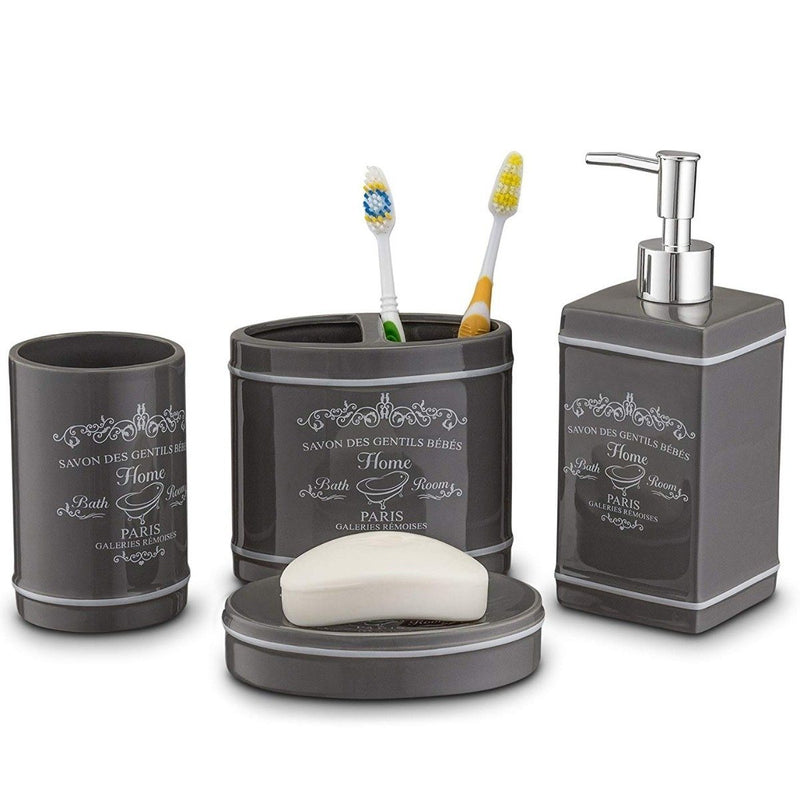 4 Piece Set: Home Basics Paris Collection Bathroom Accessories - Assorted Colors Home Essentials - DailySale