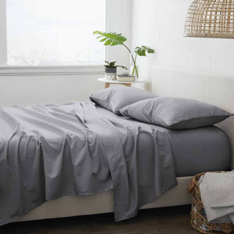4-Piece Set: Made Supply Co. Solid Sheet Bedding Charcoal Twin XL - DailySale