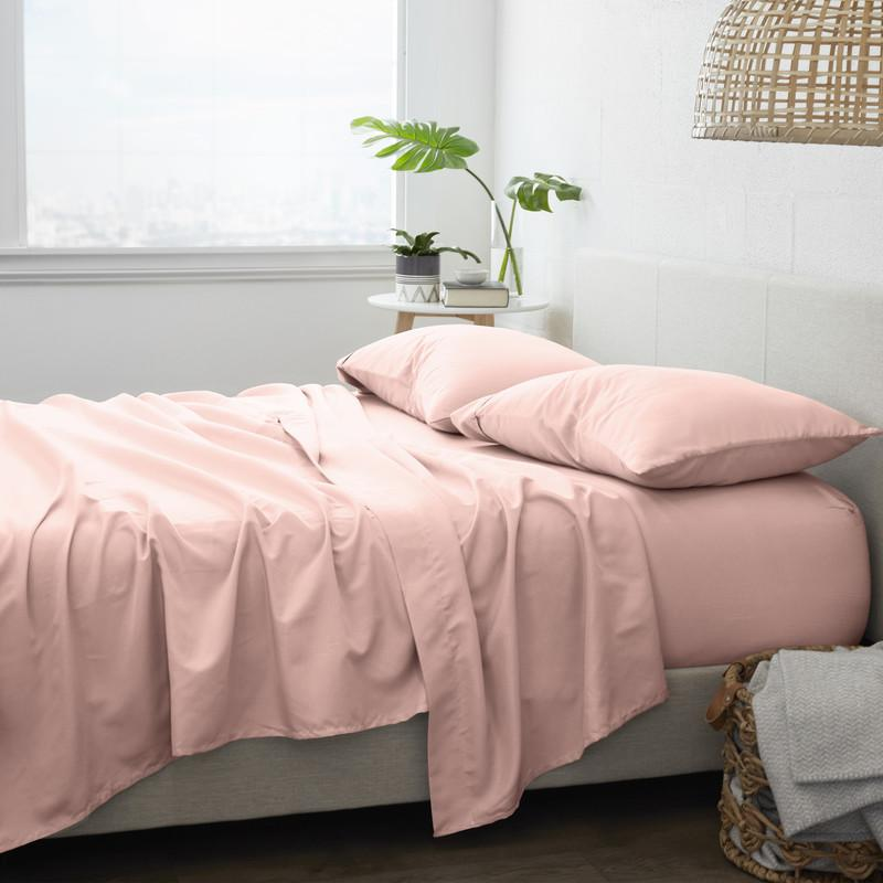 4-Piece Set: Made Supply Co. Solid Sheet Bedding Light Pink Twin XL - DailySale