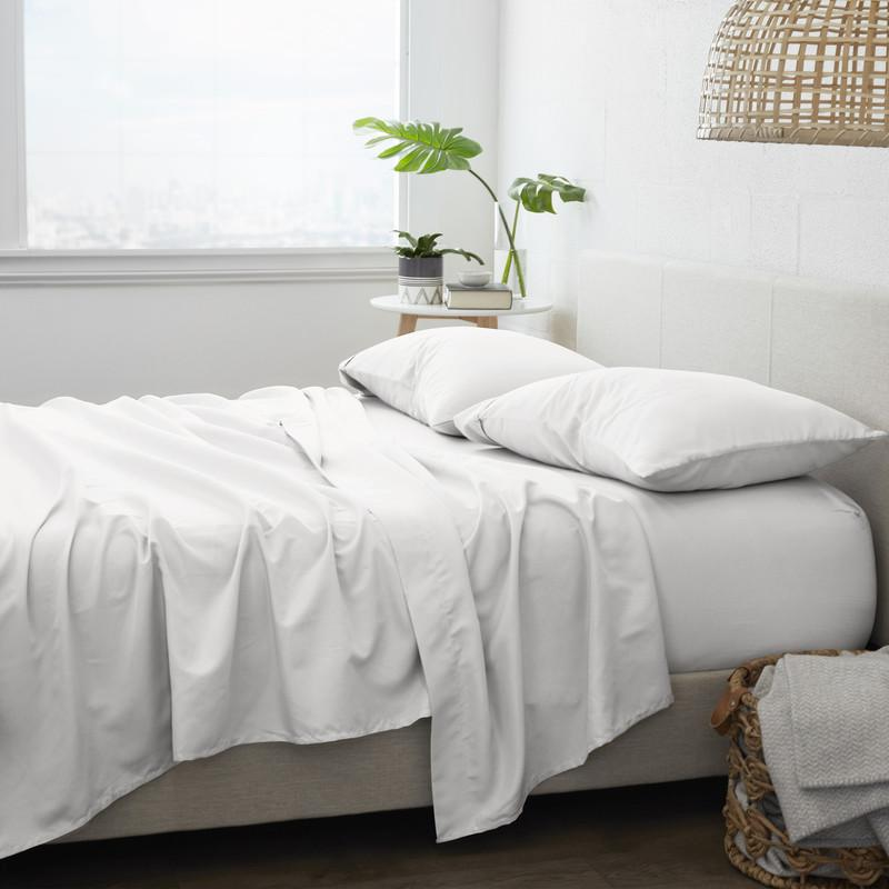 4-Piece Set: Made Supply Co. Solid Sheet Bedding Off White Twin XL - DailySale