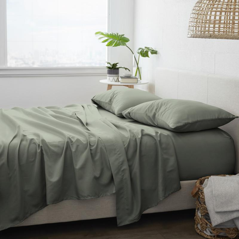 4-Piece Set: Made Supply Co. Solid Sheet Bedding Olive Twin XL - DailySale