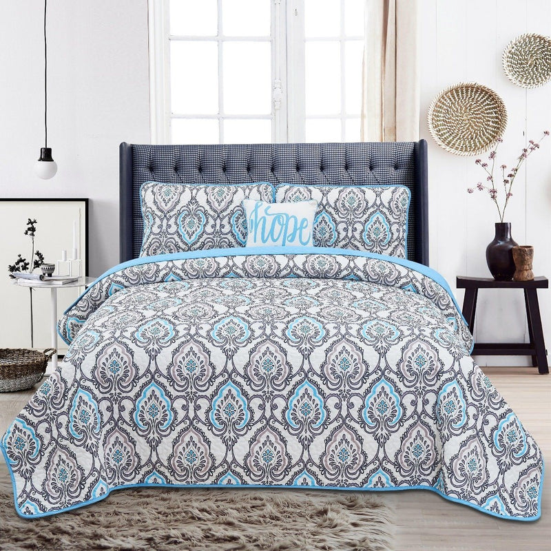 4-Piece Set: Printed Pattern Quilt Set Linen & Bedding - DailySale