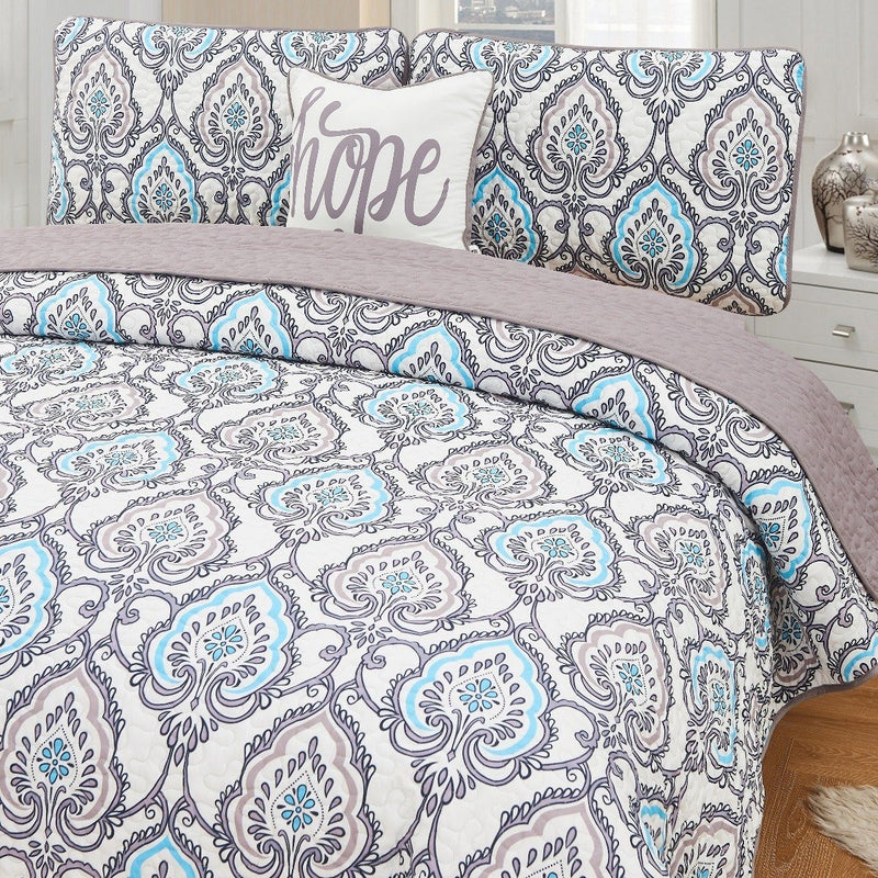 4-Piece Set: Printed Pattern Quilt Set Linen & Bedding King No. 2 - DailySale