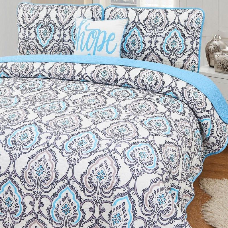 4-Piece Set: Printed Pattern Quilt Set Linen & Bedding Queen No. 1 - DailySale