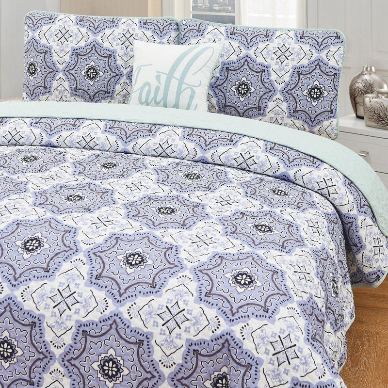 4-Piece Set: Printed Pattern Quilt Set Linen & Bedding Queen No. 3 - DailySale