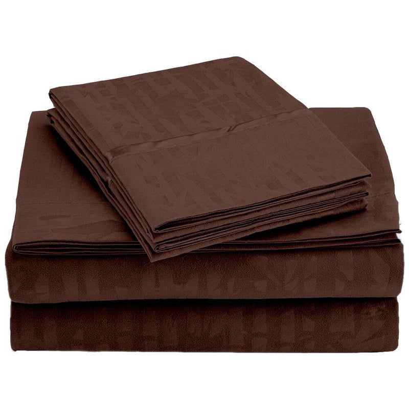 4-Piece Set: Super-Soft 1600 Series Bamboo Embossed Bed Sheet Linen & Bedding Full Chocolate - DailySale