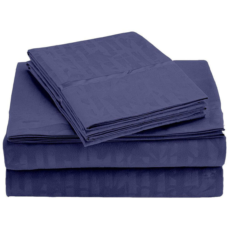 4-Piece Set: Super-Soft 1600 Series Bamboo Embossed Bed Sheet Linen & Bedding Full Navy - DailySale