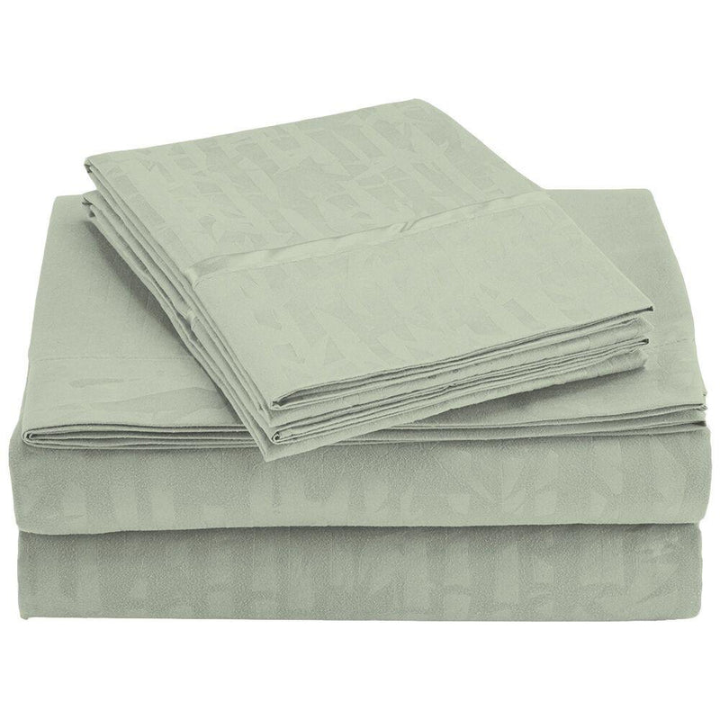 4-Piece Set: Super-Soft 1600 Series Bamboo Embossed Bed Sheet Linen & Bedding Full Sage - DailySale