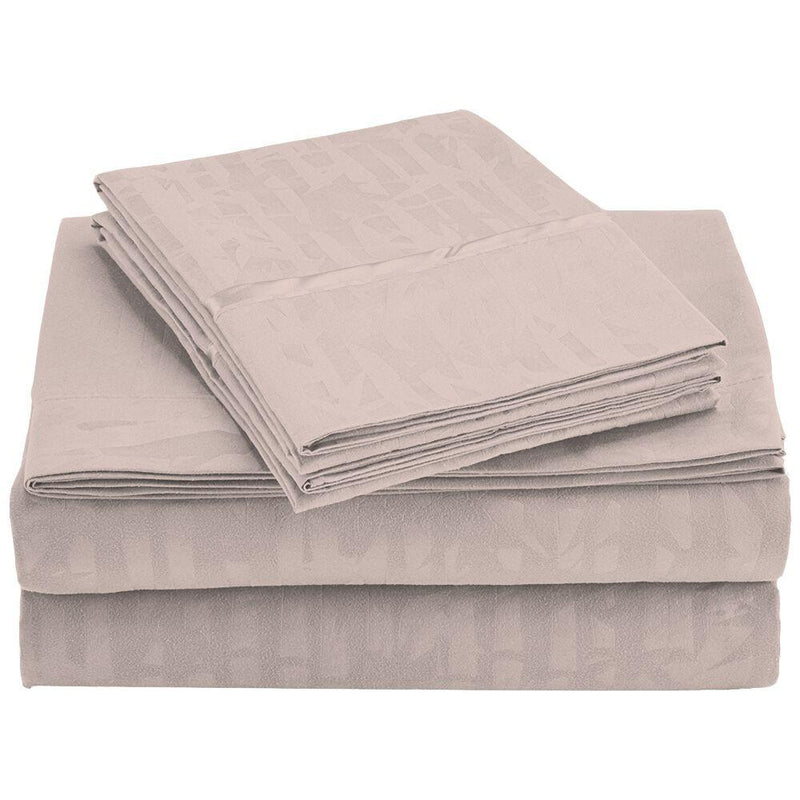 4-Piece Set: Super-Soft 1600 Series Bamboo Embossed Bed Sheet Linen & Bedding Full Taupe - DailySale