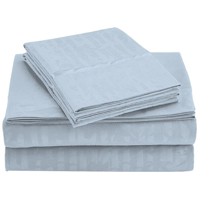 4-Piece Set: Super-Soft 1600 Series Bamboo Embossed Bed Sheet Linen & Bedding Queen Light Blue - DailySale