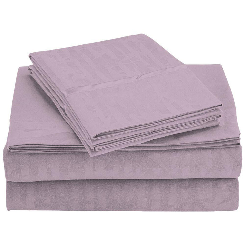 4-Piece Set: Super-Soft 1600 Series Bamboo Embossed Bed Sheet Linen & Bedding Queen Lilac - DailySale