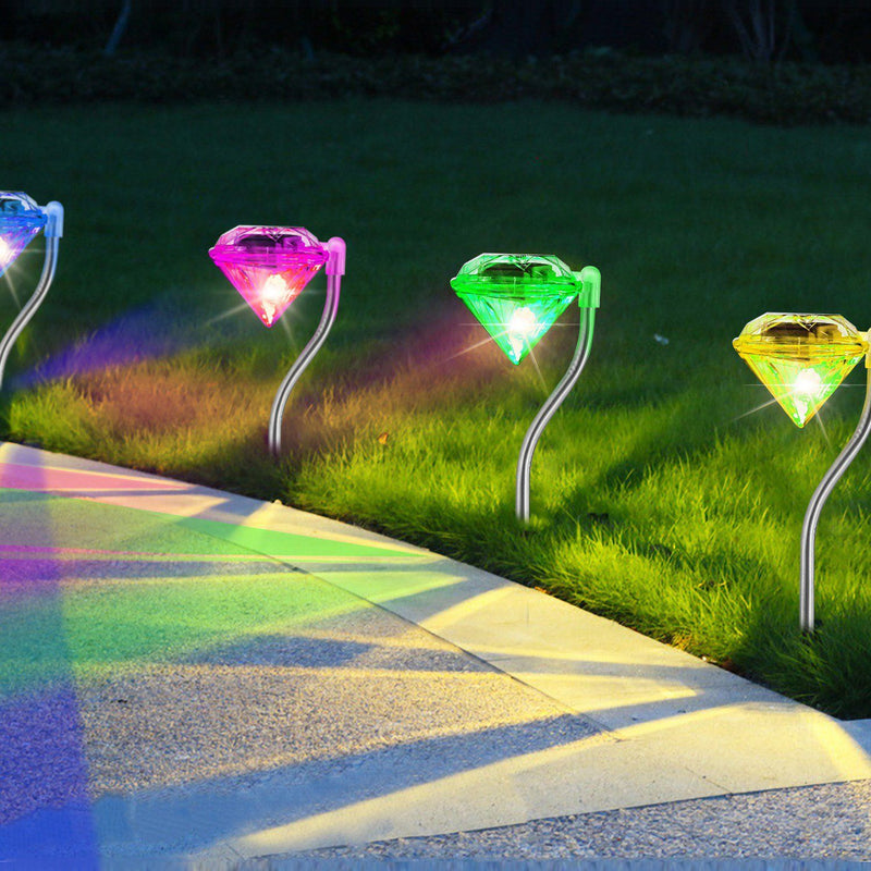 4-Piece: Solar Diamond LED Light Pathway Stake Decorative Lamp Garden & Patio - DailySale