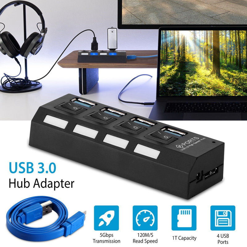 4 Port USB 3.0 Hub High Speed Adapter Computer Accessories - DailySale