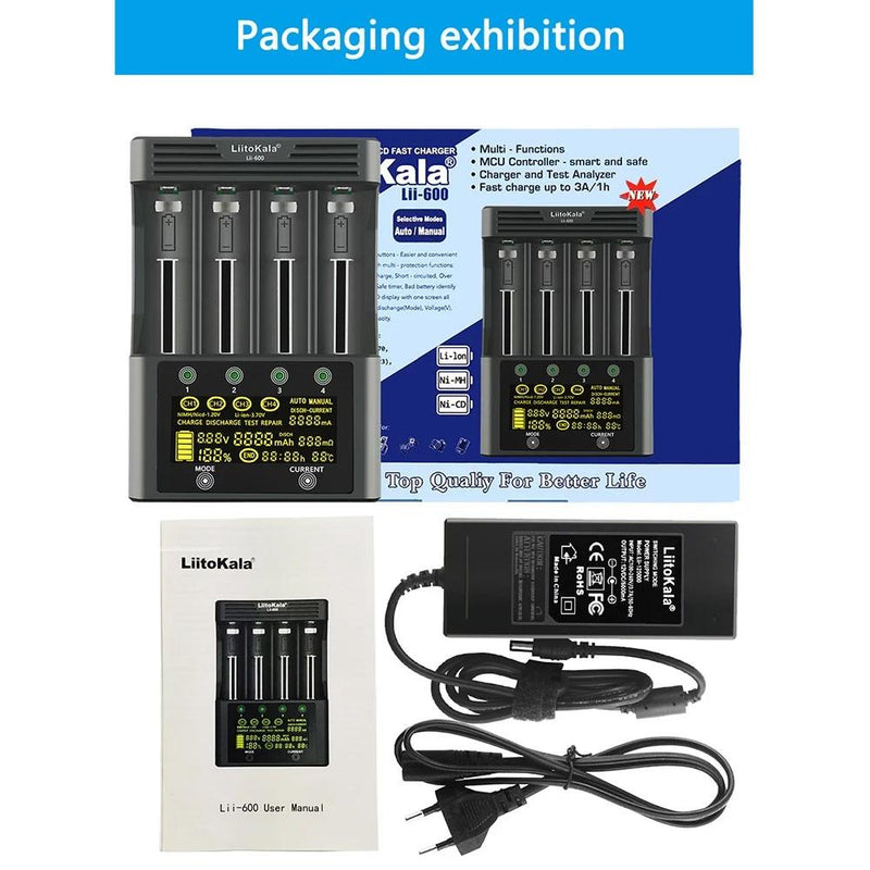 4 Slots Independent Charging Battery Charger Household Batteries & Electrical - DailySale