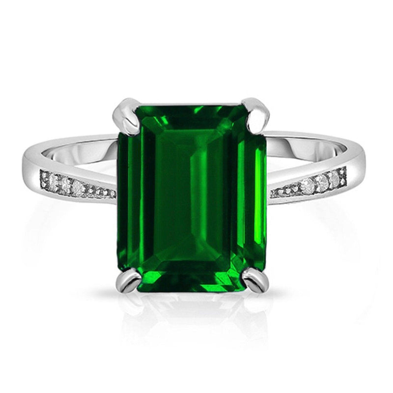 4.00 CTTW Genuine Emerald Sterling Silver Ring - Assorted Sizes Jewelry 9 - DailySale