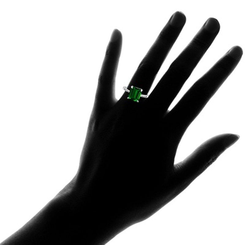 4.00 CTTW Genuine Emerald Sterling Silver Ring - Assorted Sizes Jewelry - DailySale