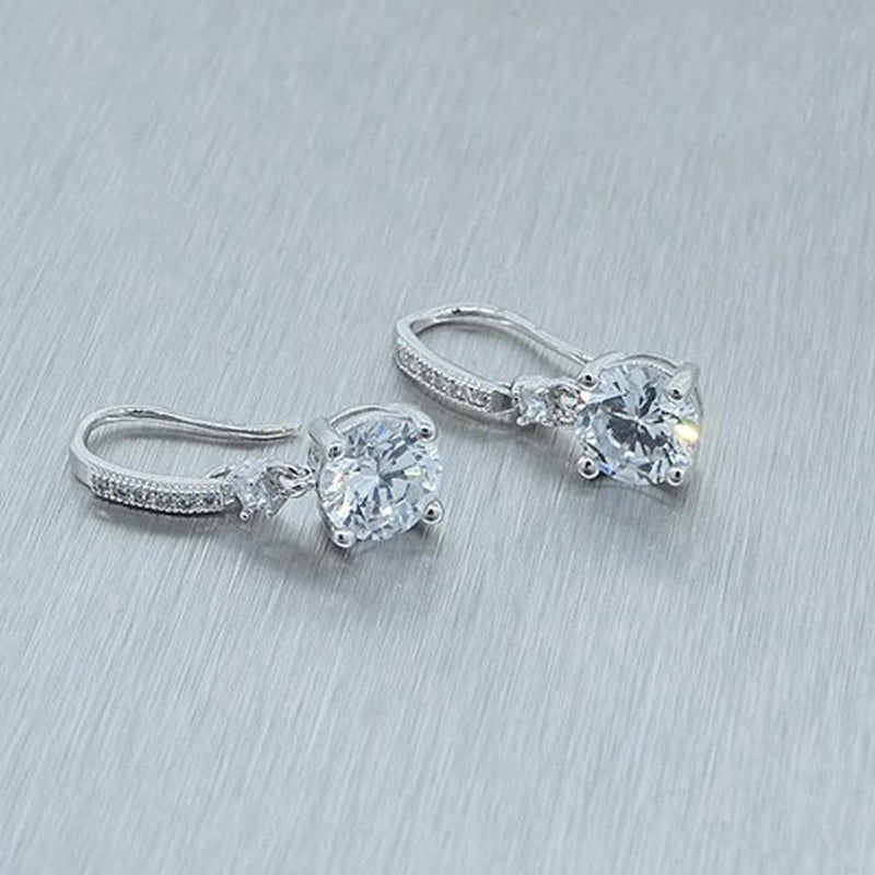 4.00 CTW Cubic Zirconia Drop Earrings Jewelry - DailySale