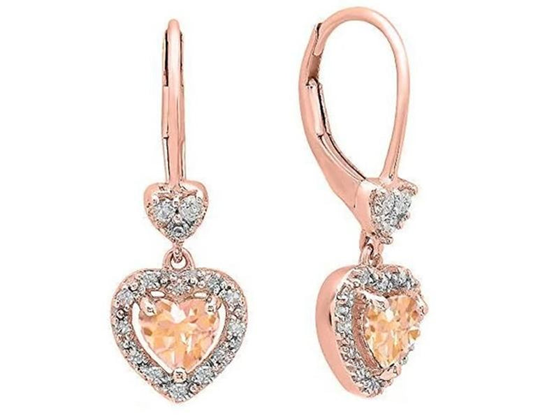 4.0CTTW Morganite Dangling Drop Heart Shaped Leverback Earrings Jewelry - DailySale