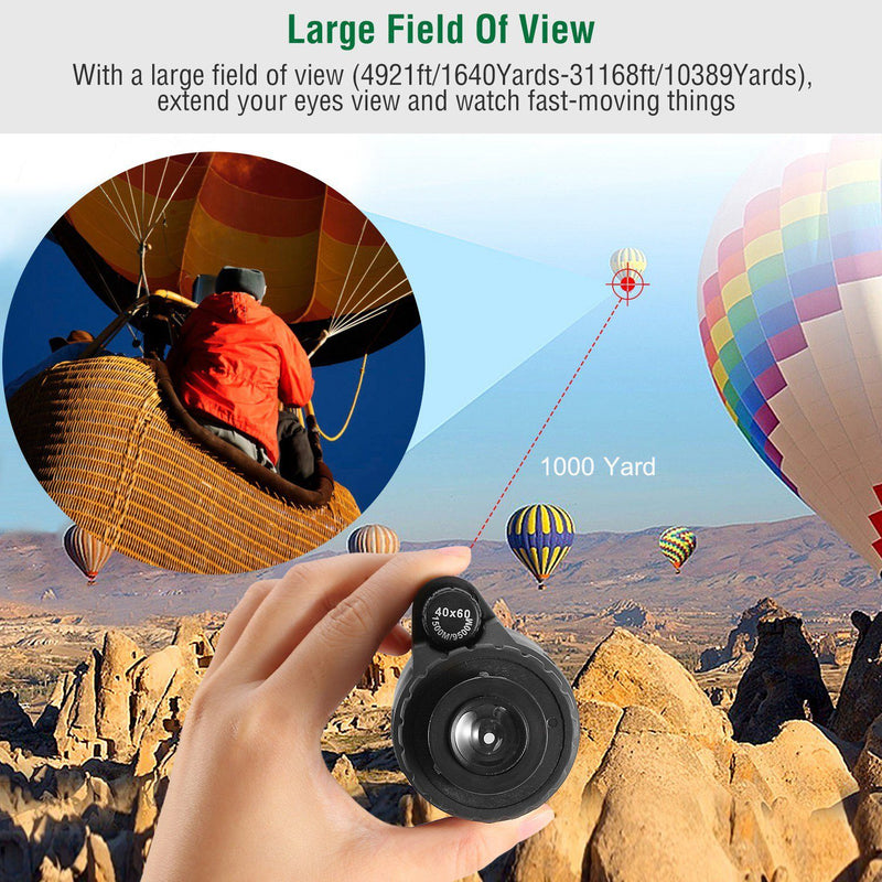 40x60 HD Optical Monocular Telescope with FMC Lens Sports & Outdoors - DailySale