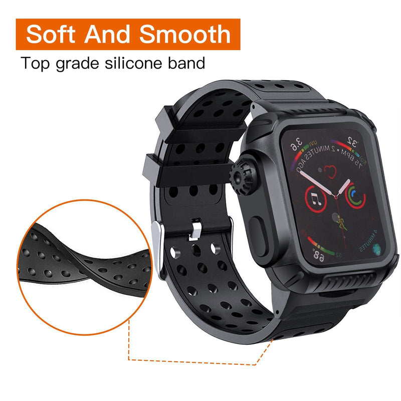 44 MM Full Cover Clear Case Screen Protector with Bands for Apple iWatch 4 and 5 Smart Watches - DailySale