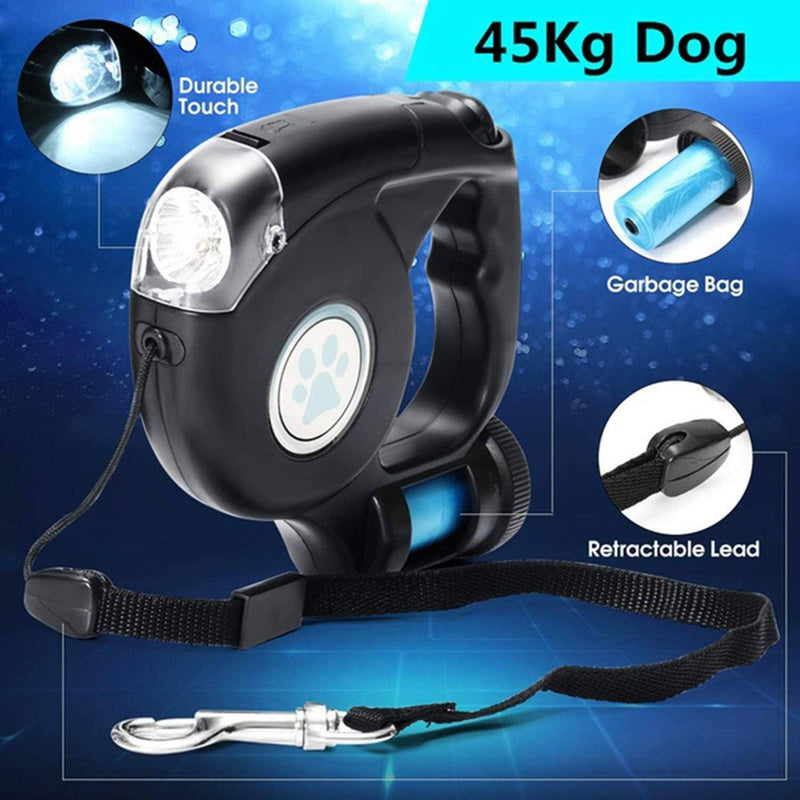 4.5M LED Flashlight Extendable Retractable Pet Dog Leash Lead with Garbage Bag Pet Supplies - DailySale
