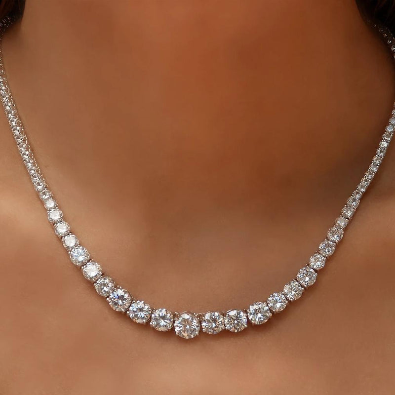 48.00 CTTW Graduated Tennis Necklace made with Swarovski Elements Jewelry - DailySale