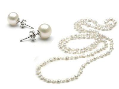 "3-Piece Set: 36"" White Freshwater Pearl Endless Necklace and Earrings Set - DailySale, Inc"