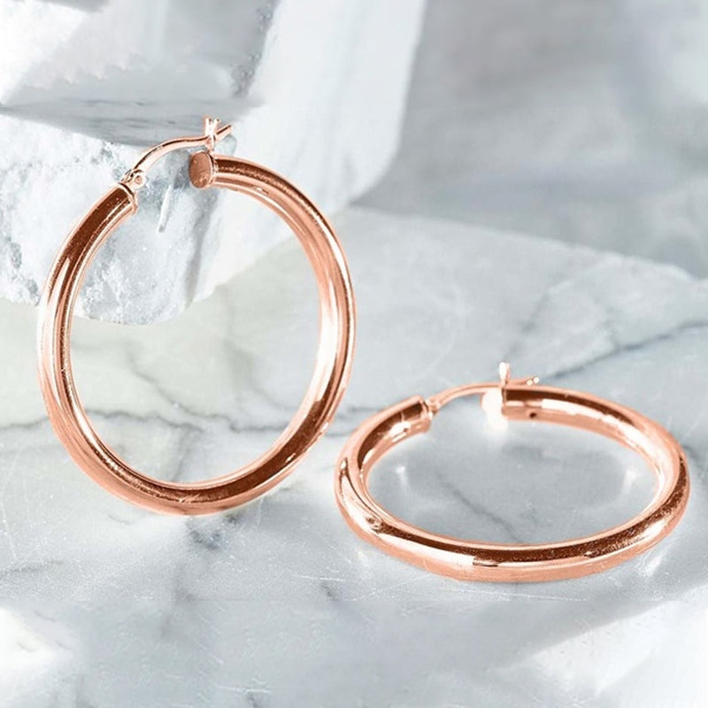 25mm Classic French Lock Hoops in Solid Sterling Silver - DailySale, Inc