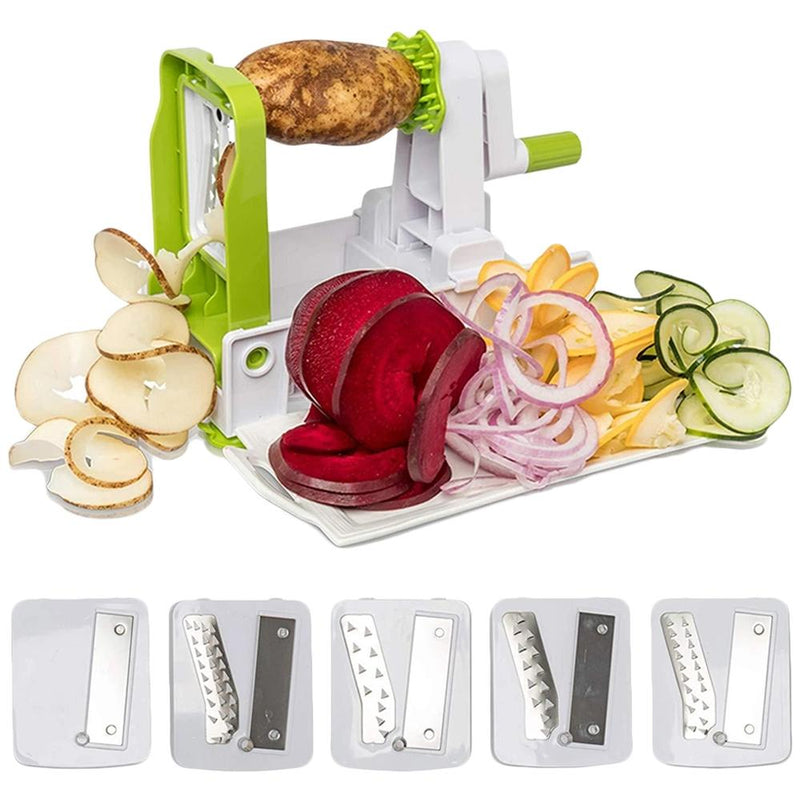 5-Blade Vegetable White Spiralizer and Slicer Kitchen Essentials - DailySale