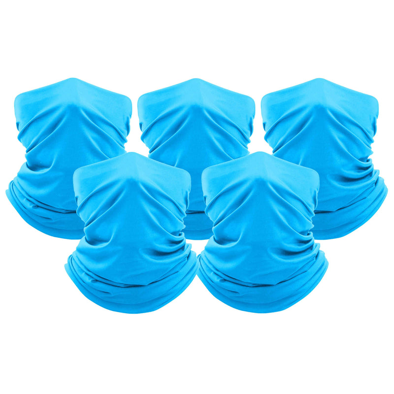 5-Pack: Unisex Moisture Wicking Gaiter Face Neck Scarf Bandanna Face Masks & PPE Aqua - DailySale
