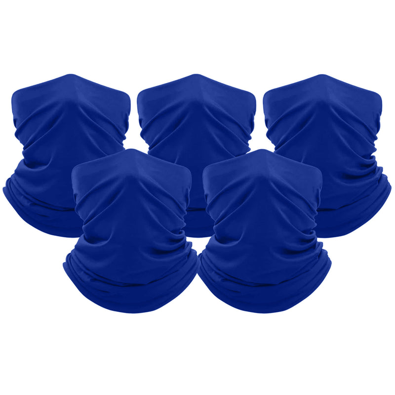 5-Pack: Unisex Moisture Wicking Gaiter Face Neck Scarf Bandanna Face Masks & PPE Blue - DailySale