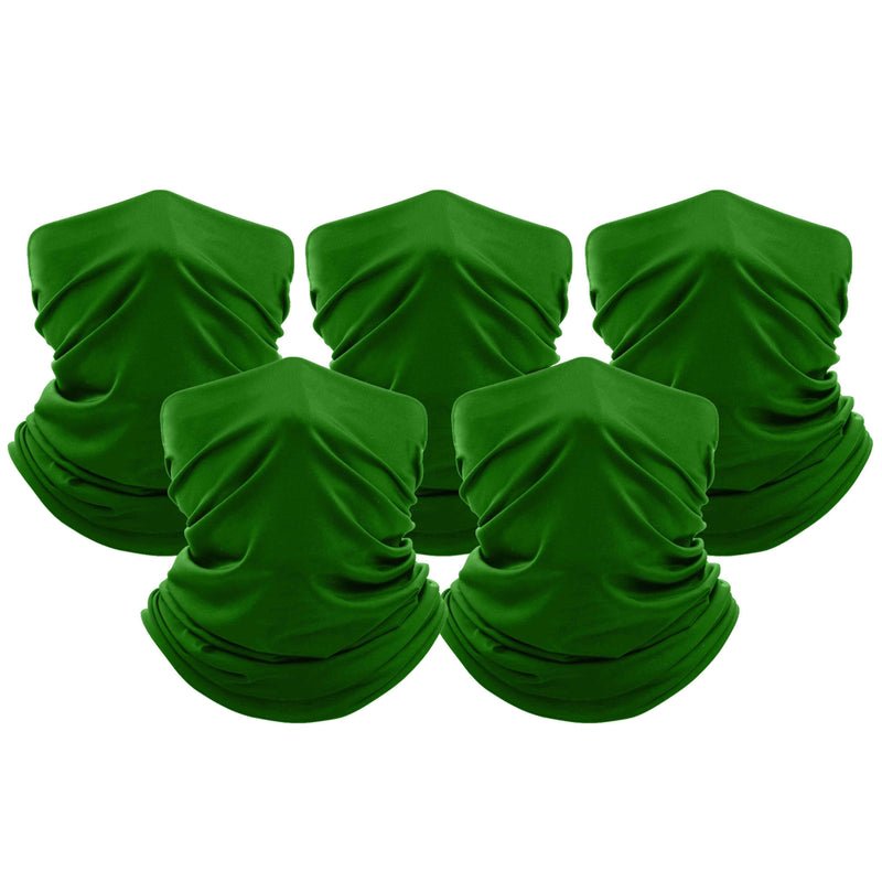 5-Pack: Unisex Moisture Wicking Gaiter Face Neck Scarf Bandanna Face Masks & PPE Kelly Green - DailySale