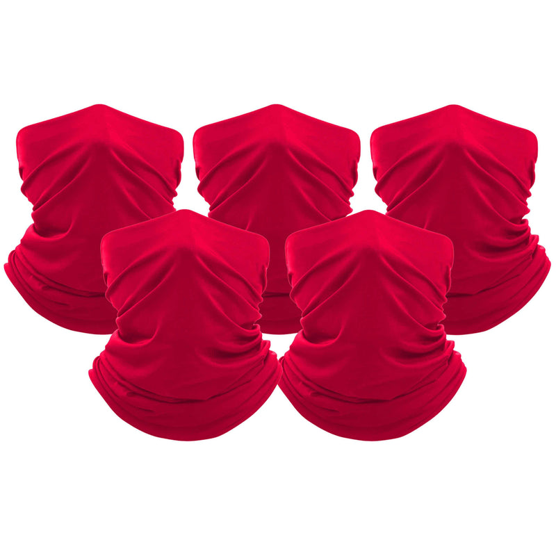 5-Pack: Unisex Moisture Wicking Gaiter Face Neck Scarf Bandanna Face Masks & PPE Red - DailySale