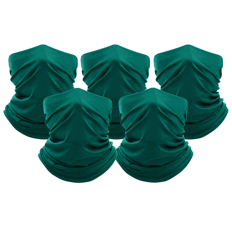 5-Pack: Unisex Moisture Wicking Gaiter Face Neck Scarf Bandanna Face Masks & PPE Teal - DailySale