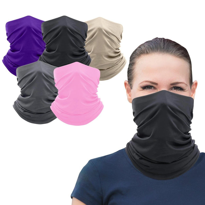5-Pack: Washable And Reusable Face Mask Bandana and Neck Gaiter Face Masks & PPE - DailySale