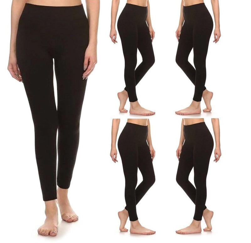 5-Pack: Women's Premium Fleece Leggings Women's Apparel S/M Black - DailySale