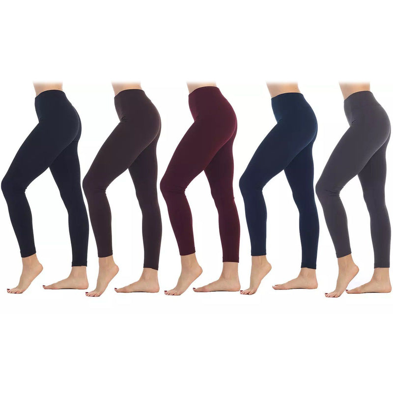 5-Pack: Women's Premium Fleece-Lined Leggings Women's Clothing Regular - DailySale
