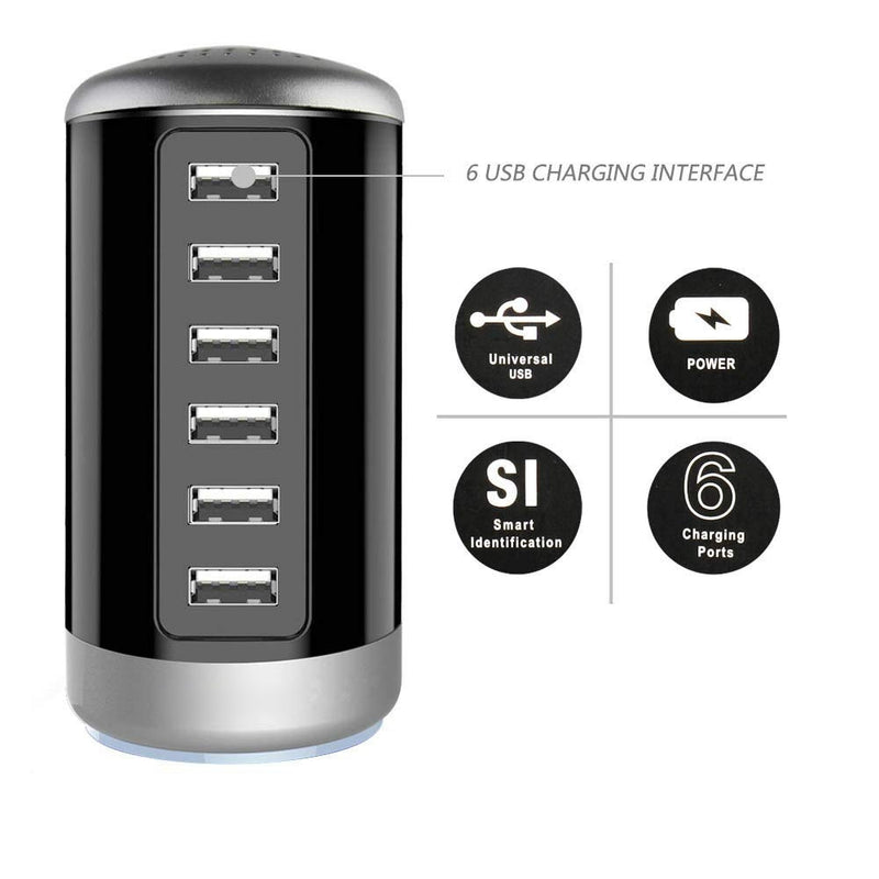6 USB Port 30W Smart Charging Tower - Assorted Colors - DailySale, Inc