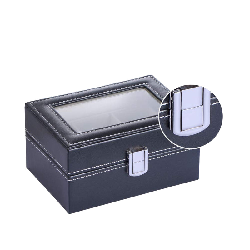 Mens Black Leather Display Glass Top Jewelry Case Organizer - DailySale, Inc