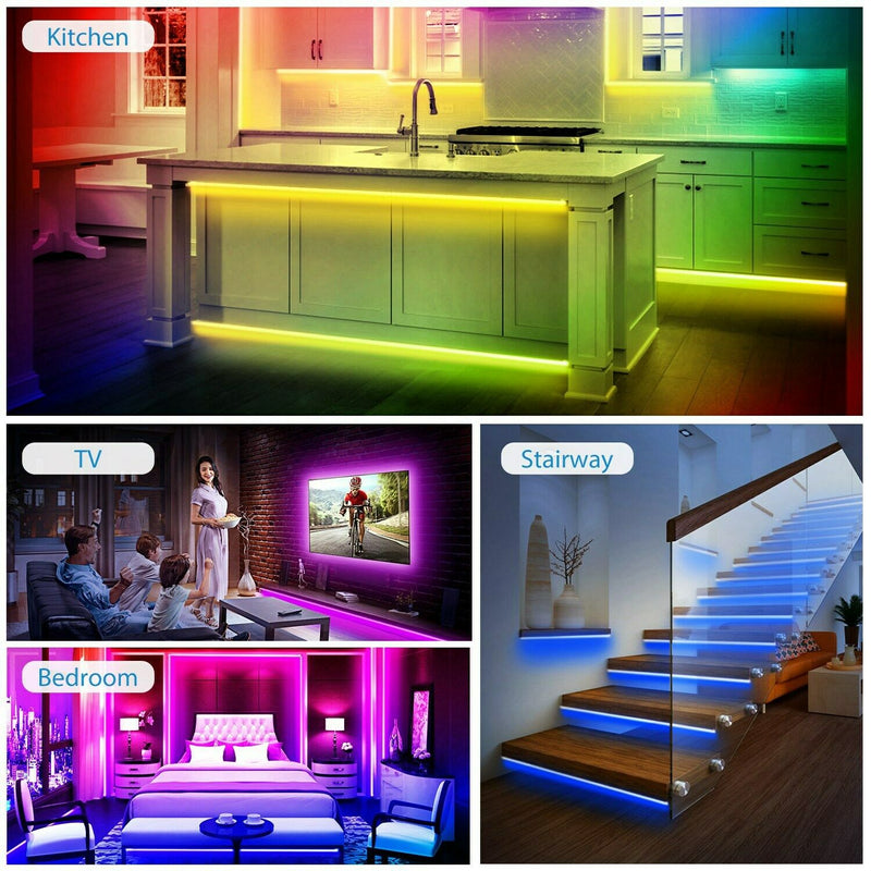 5M LED Strip Light 5050 SMD RGB Waterproof Smart WIFI IR APP Controller Lighting & Decor - DailySale