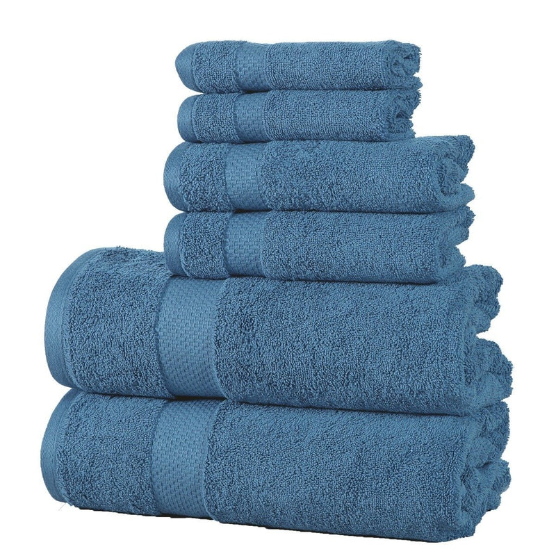 6-Pack: 100% Cotton Towel Set - Assorted Colors Home Essentials Blue - DailySale