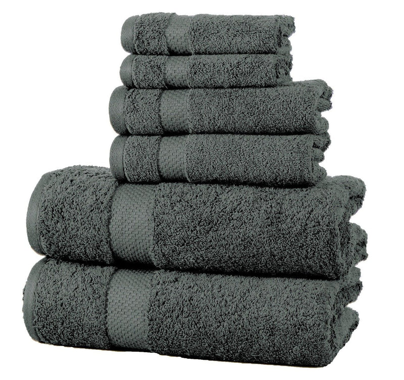 6-Pack: 100% Cotton Towel Set - Assorted Colors Home Essentials Charcoal - DailySale