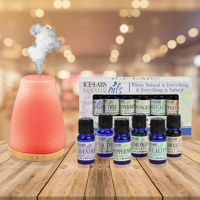 6-Pack: Ice Labs Essential Oils with Relaxing Essential Oil Diffuser Wellness & Fitness - DailySale